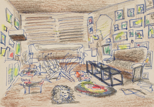 Untitled (Vogel living room drawn from memory)