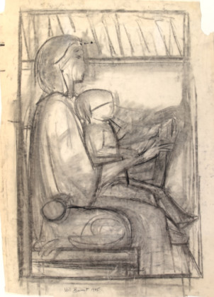 Untitled (Study for Mother and Child Reading)